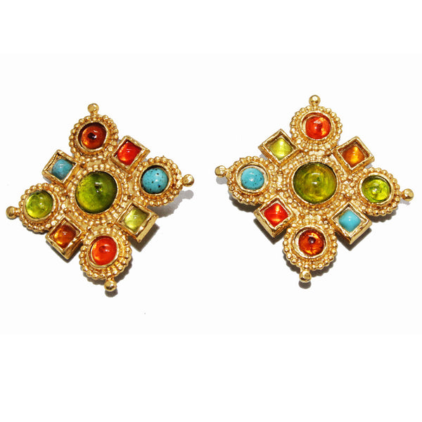 Colorful Edouard Rambaud french vintage byzantine earrings 80s - Katheleys for Unique Vintage Luxury