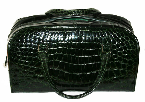 Exceptional Green Croco Italian Travel Bag 1980 - Katheleys for Unique Vintage Luxury