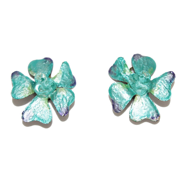 Exceptional vintage turquoise flower earrings collector