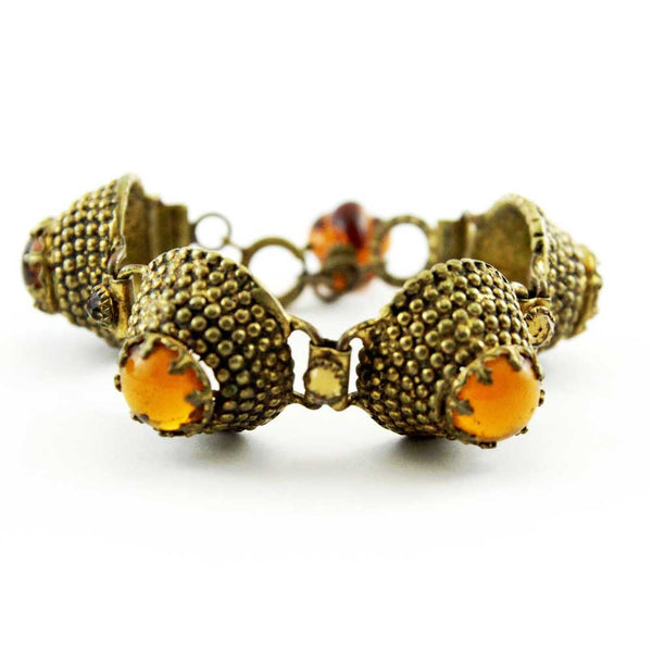 Unique French Amber Glass Gripoix 60s Vintage Bracelet