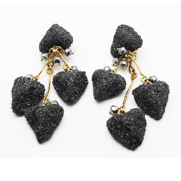 Dramatic French Couture 80s Heart Dangling vintage earrings - Katheleys for Unique Vintage Luxury