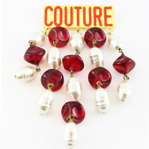 Couture Babylone dangling pearls & red beads vintage brooch 80s