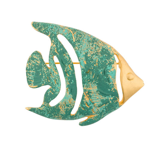 Givenchy Art green fish vintage brooch 80s - Katheleys for Unique Vintage Luxury