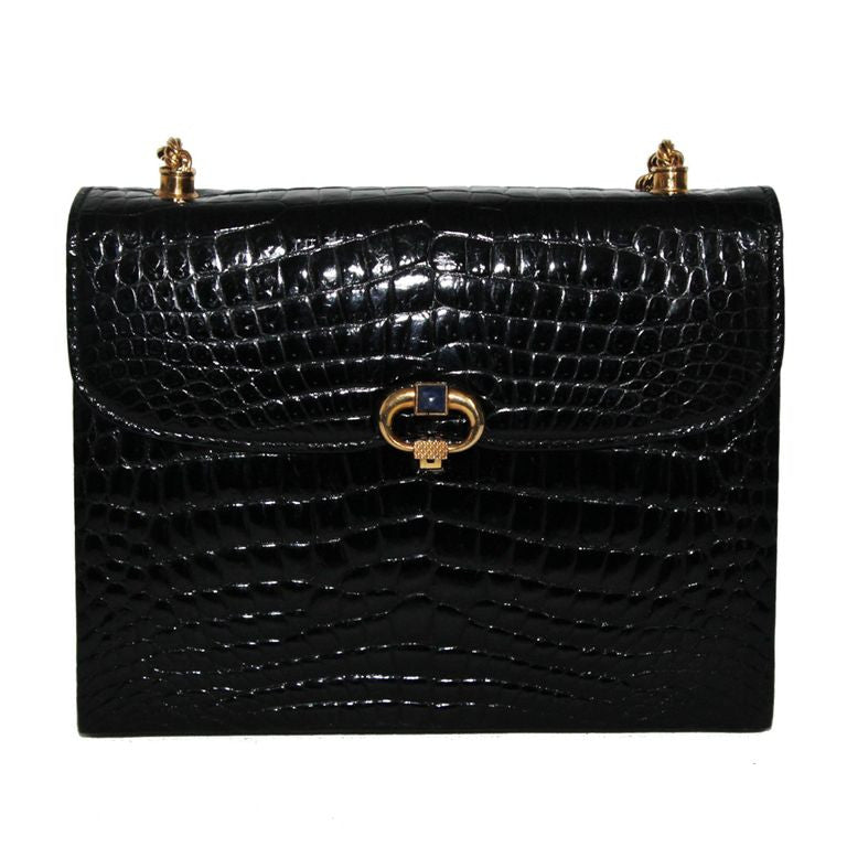 Exceptional Rarity of Gucci black croco & lapis lazuli bag of the 60s - Katheleys for Unique Vintage Luxury