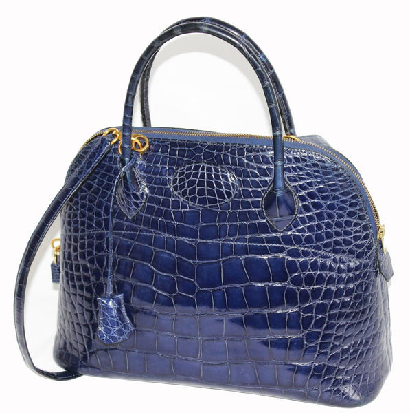 3afa66179172 Fabulous Hermès Bolide vintage blue saphir Alligator Handbag 1995 -  Katheleys for Unique Vintage Luxury