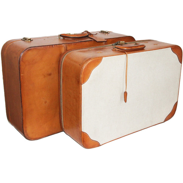 Vintage Hermès suitcases toile leather 60s collector
