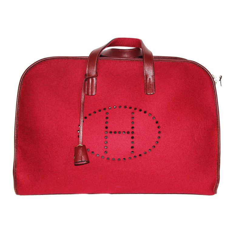 Vintage Hermes rouge red travel bag feu2dou collector 90s