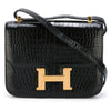 Vintage Hermes constance black croco collector 1975