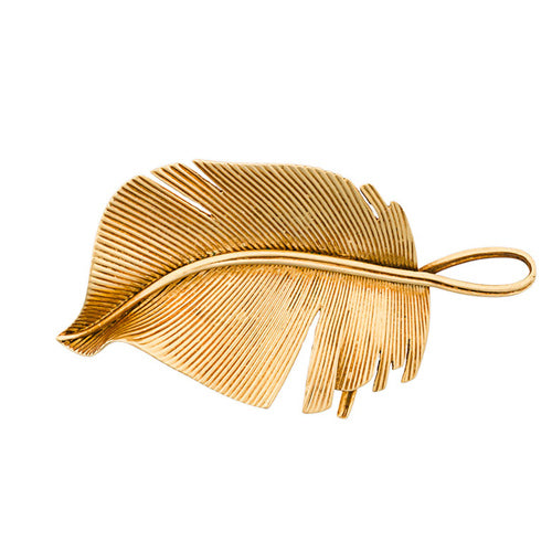Hermès Leaf 18 kt gold vintage brooch 50s - Katheleys for Unique Vintage Luxury