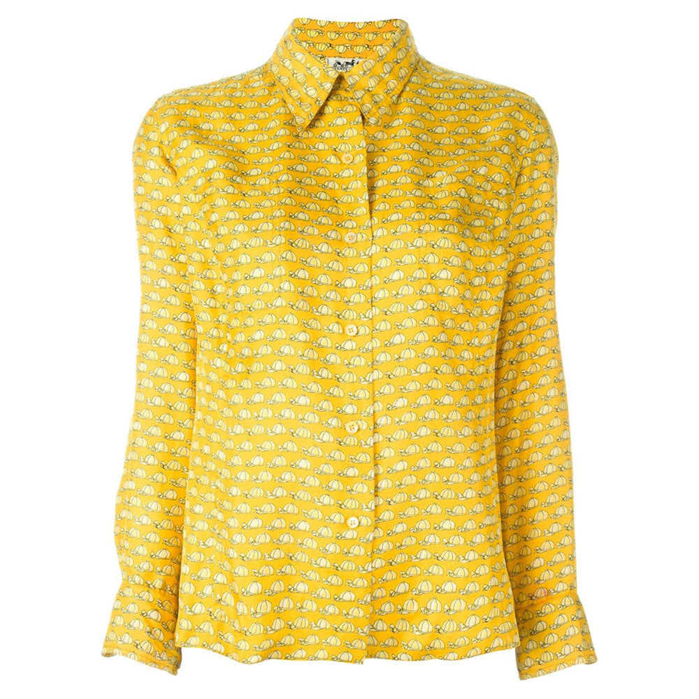 Vintage Hermès Yellow cups silk Shirt 70s collector