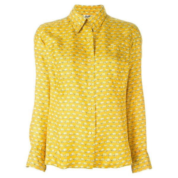 76e375f4f4ae Fun   Collectable Hermès Yellow Vintage Shirt 70s - Katheleys for Unique  Vintage Luxury