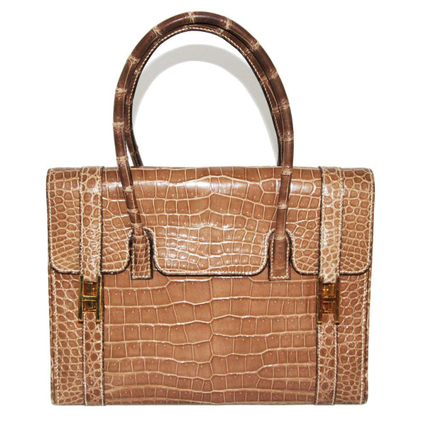 Hermes vintage drag beige porosus crocodile collectable