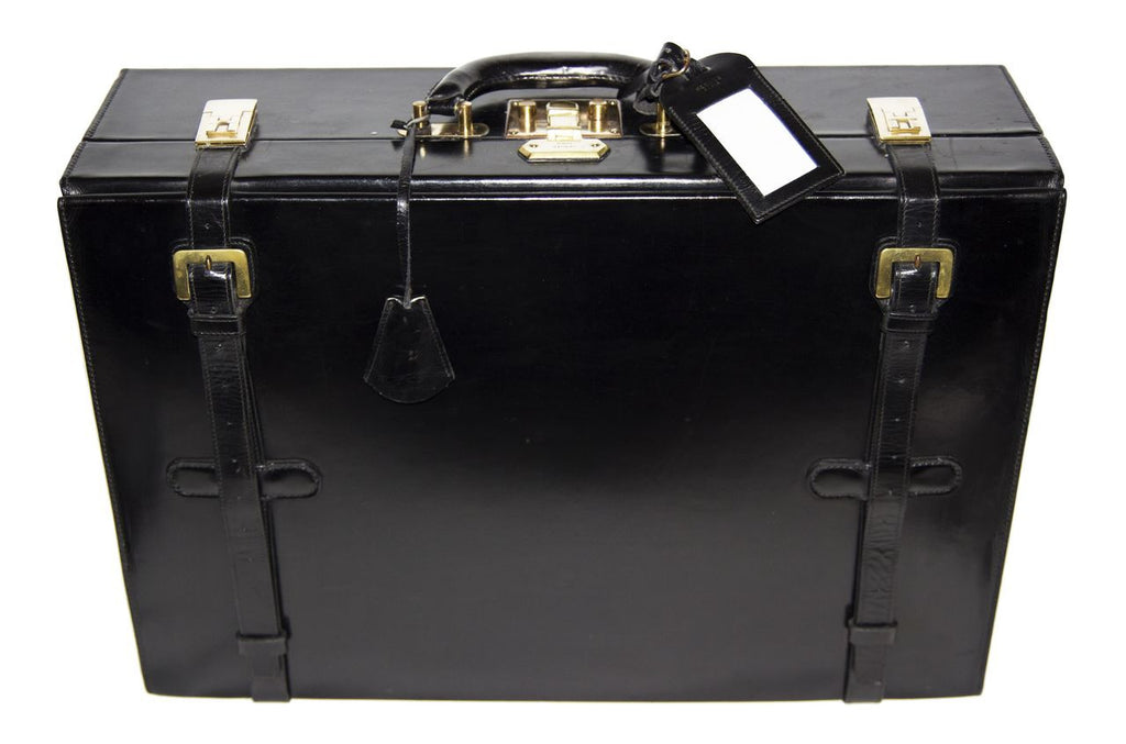 Hermès Vintage black leather briefcase c.1960 - Katheleys for Unique Vintage Luxury