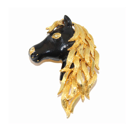 Black and gold Horse vintage brooch 60s