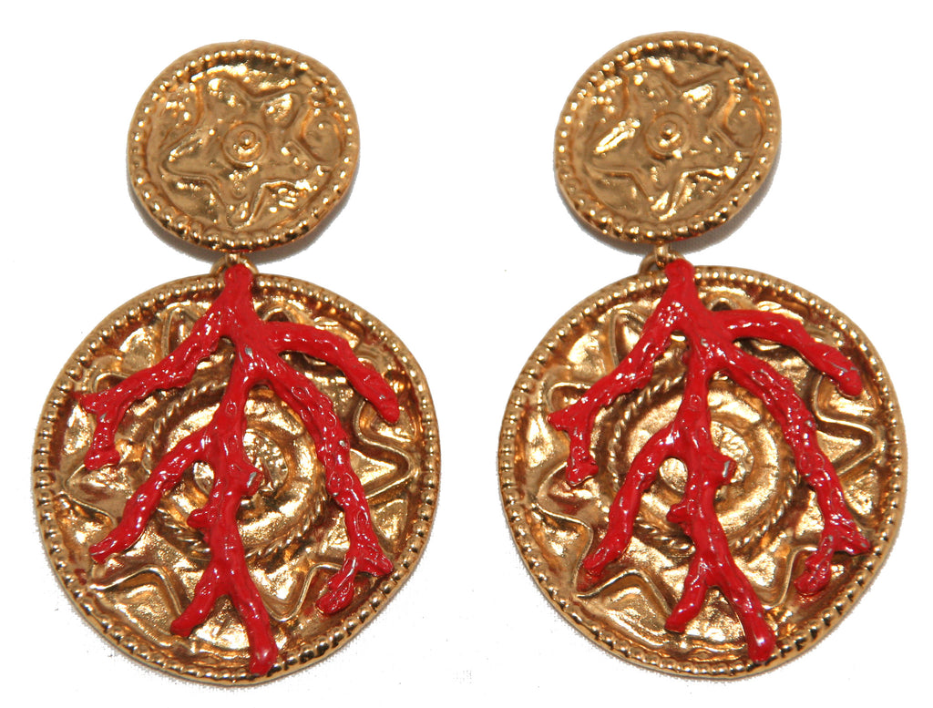 Incredible YSL Coral Earrings by R. Goossens 1980 - Katheleys for Unique Vintage Luxury