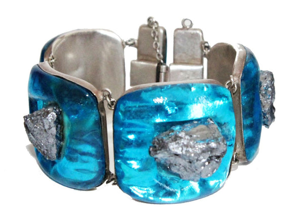 Incredible Jacques Gautier Turquoise Enamelled Bracelet 60s - Katheleys for Unique Vintage Luxury