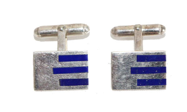 Gucci 70s silver & Lapis vintage cufflinks - Katheleys for Unique Vintage Luxury
