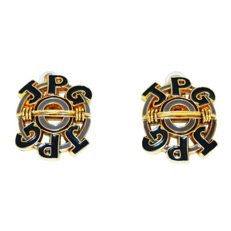 Jean-Paul Gaultier oversized logo earrings of the late 80s