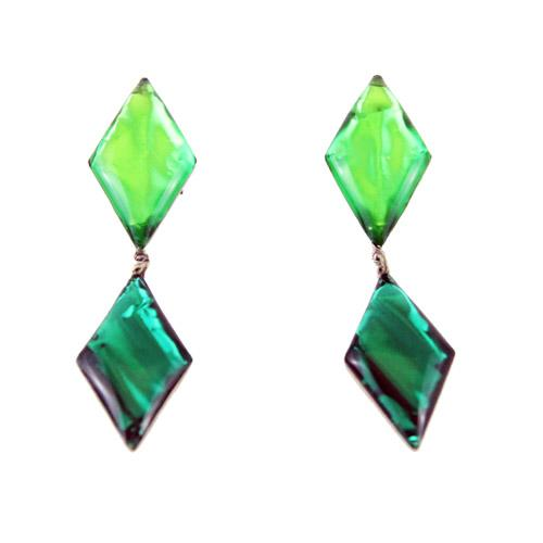 Jacques Gautier Divine Green long vintage Earrings 70s