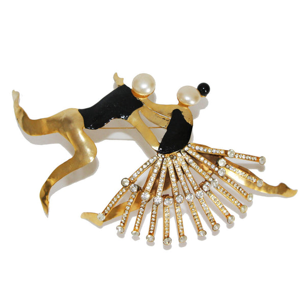 Exceptional & impressive Karl Lagerfeld dancers vintage brooch by Correani
