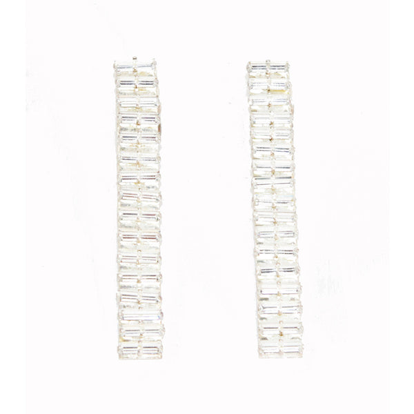 Stunning Lanvin long baguettes crystal earrings, 1991