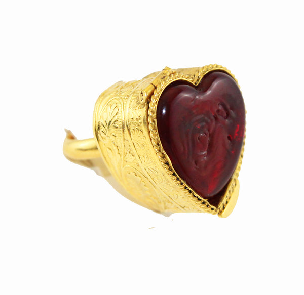 Mercedes Robirosa red heart secret vintage ring late 80s