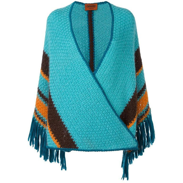 Rare Missoni turquoise Strip Reverso shawl of the 70s