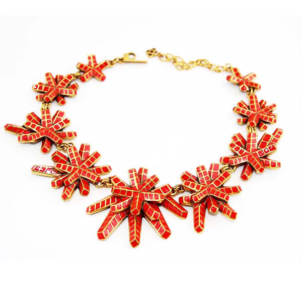 Oscar-della-renta-coral-flower-necklace-90s-shop-vintage-jewels-katheleys-belgium-expert-collector