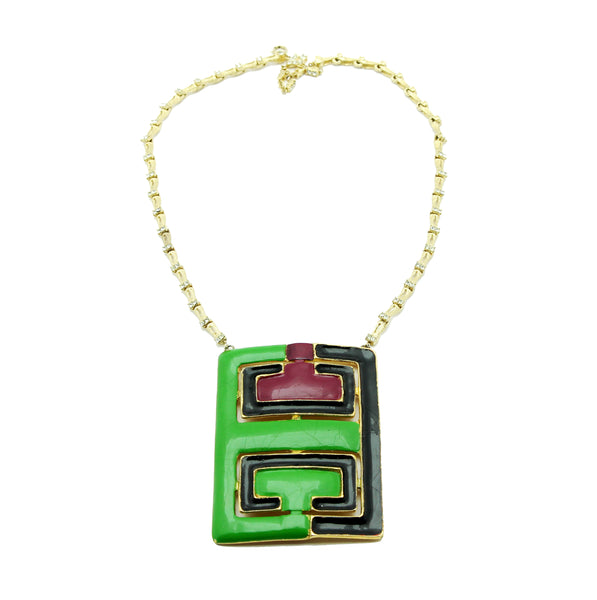 pierre-cardin-vintage-collector-necklace-70s-enamel-green-purple-shop-katheleys-vintage-expert-belgium