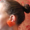 Impressive orange vintage Heart Earrings 90s - Katheleys for Unique Vintage Luxury