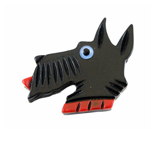 Black Wood Terrier brooch 70s