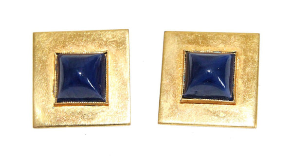 Gorgeous Yves Saint Laurent YSL vintage Blue Cufflinks of the 70s - Katheleys for Unique Vintage Luxury