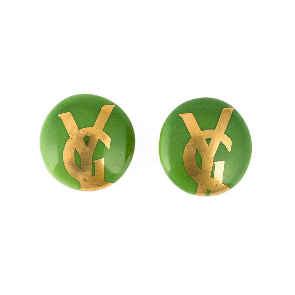 YSL vintage logo earrings by Vallauris 1980