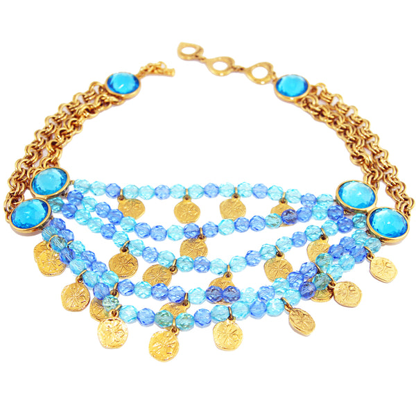 YSL vintage collectable necklace blue coins by robert goossens shop katheleys for vintage jewels