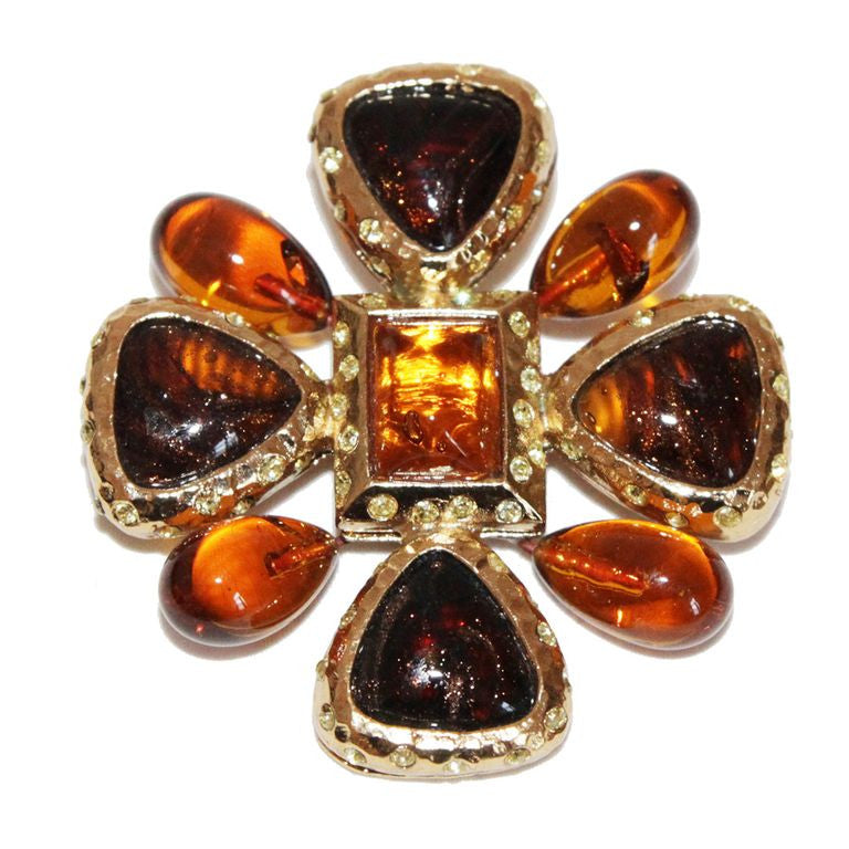 Collectable YSL byzantine vintage cross brooch/pendant c.1980 - Katheleys for Unique Vintage Luxury