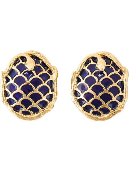 Rare YSL Snake Enamelled Earrings 1980