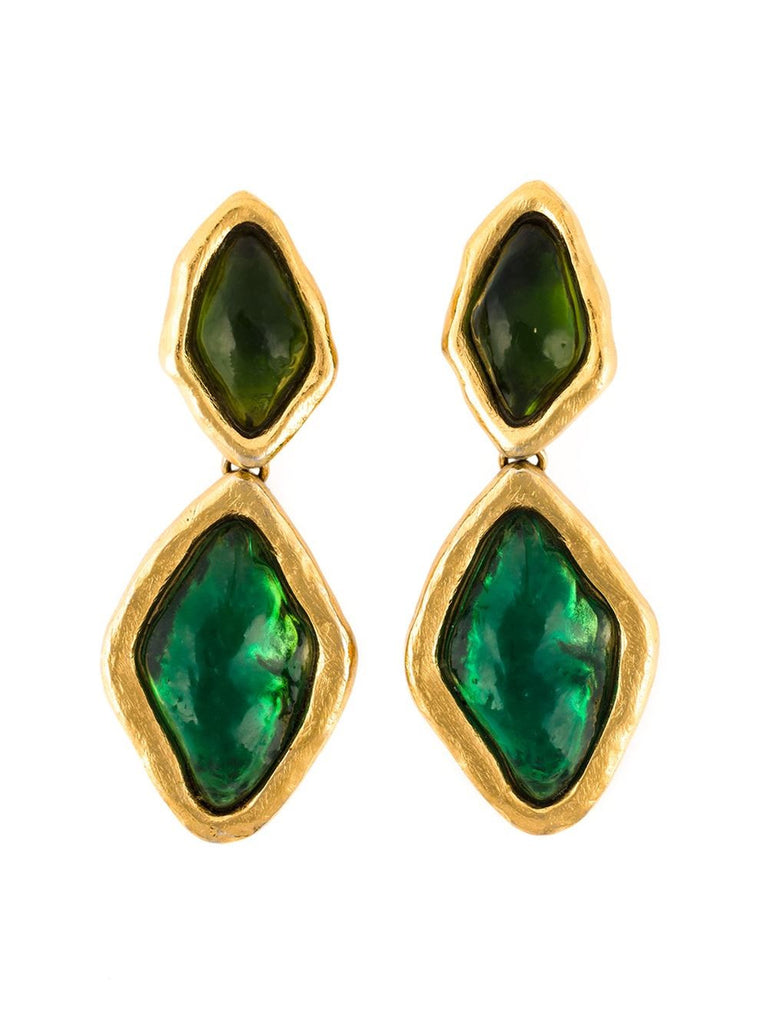 YSL Huge Green Resin Vintage Earrings 1980