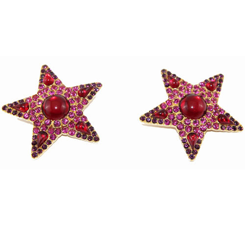 Yves Saint Laurent Vintage Red and Pink stars Haute Couture Earrings 80s