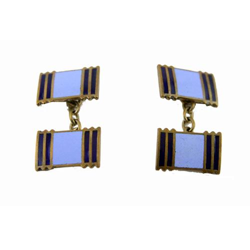 Art Deco blue enamelled vintage cufflinks - Katheleys for Unique Vintage Luxury