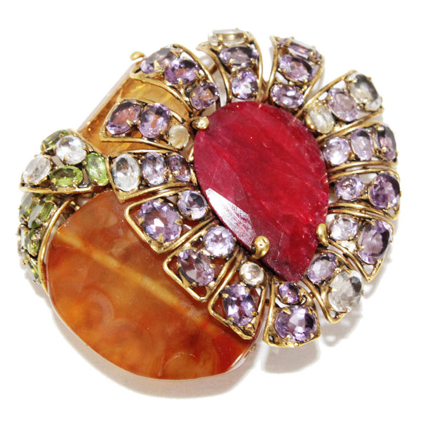 Incredible Amethyst, citrine & agathe brooch/bracelet - Katheleys for Unique Vintage Luxury