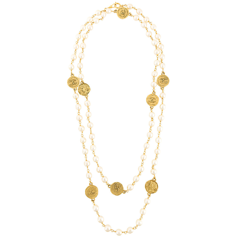 Chanel vintage long couture necklace late 80s