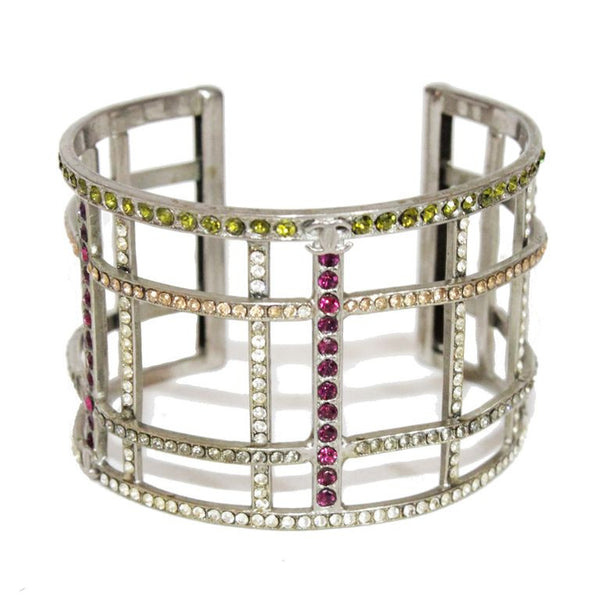 Chanel multi-colored crystal silver cuff of 1998 - Katheleys for Unique Vintage Luxury