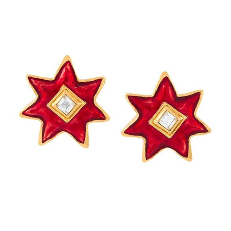 Christian Lacroix red stars vintage earrings 80s - Katheleys for Unique Vintage Luxury