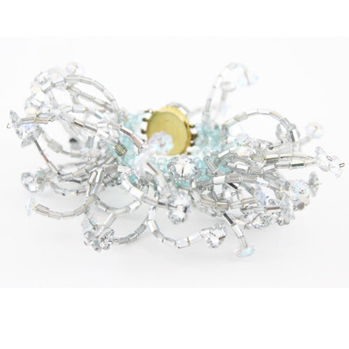 Coppola e Toppo exceptional three-dimensional Marguerite crystal cuff 60s - Katheleys for Unique Vintage Luxury