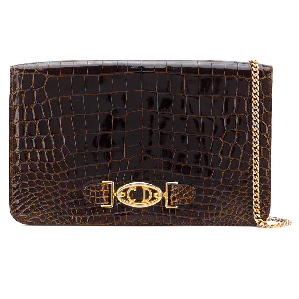 Christian Dior - brown crocodile leather bag - Katheleys for Unique Vintage  Luxury 8fe6d4b7f8daf