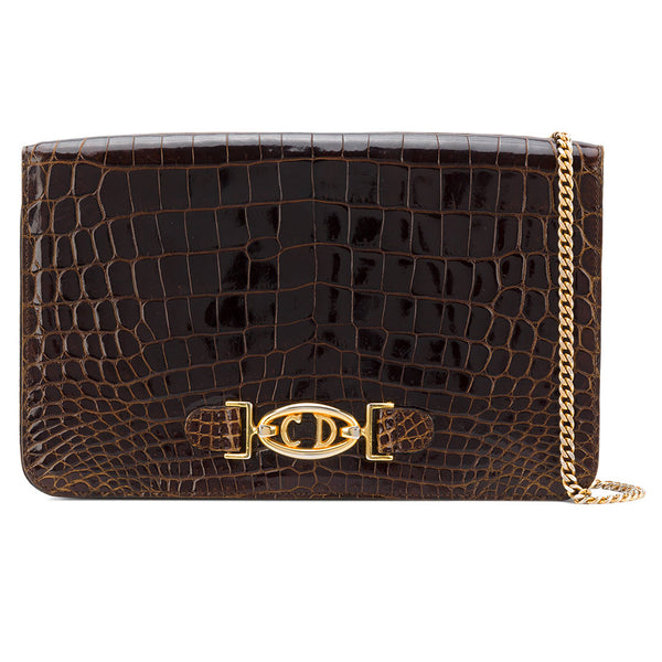 0e5fe8499c3e2 Christian Dior - brown crocodile leather bag - Katheleys for Unique Vintage  Luxury