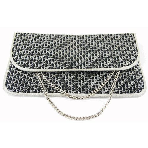 Christian Dior Vintage 70s Monogram black and silver clutch bag