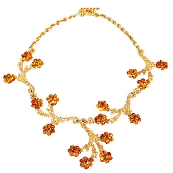 Exceptional Gavilane couture vintage flower necklace 90s