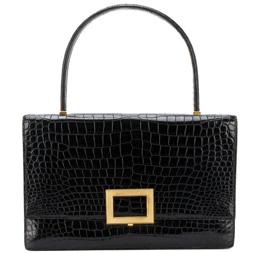 Hermès black vintage croco bag 'Dru' 1959