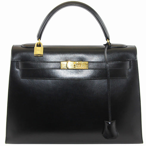 aabd7b03c6f2 Hermès Black box Kelly handbag 32 cm - Katheleys for Unique Vintage Luxury